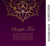 invitation card with golden... | Shutterstock .eps vector #614052404