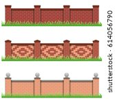 set of brick stone fences. use... | Shutterstock .eps vector #614056790