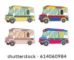 ice cream van collection | Shutterstock .eps vector #614060984