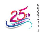 25th anniversary celebration... | Shutterstock .eps vector #614062283
