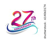 27th anniversary celebration... | Shutterstock .eps vector #614063174