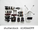 Equipment of a modern photographer with a drone - stock photo