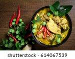 thai food  green curry chicken... | Shutterstock . vector #614067539