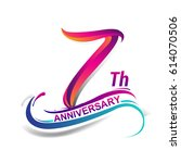 7th anniversary celebration... | Shutterstock .eps vector #614070506