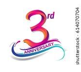 3rd anniversary celebration... | Shutterstock .eps vector #614070704