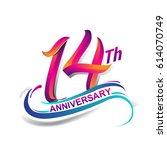 14th anniversary celebration... | Shutterstock .eps vector #614070749