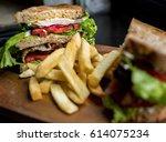 bistro good food cafe serving... | Shutterstock . vector #614075234