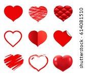 hearts set | Shutterstock .eps vector #614081510