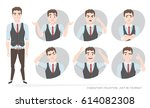 set of emotions for business... | Shutterstock .eps vector #614082308
