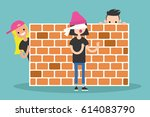 hide and seek game. young... | Shutterstock .eps vector #614083790