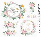 flower bouquet frame elements  | Shutterstock .eps vector #614083898