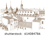 roofs of an old european city.... | Shutterstock .eps vector #614084786