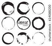 set of round grunge vector... | Shutterstock .eps vector #614088200