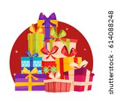 big pile of colorful wrapped... | Shutterstock .eps vector #614088248