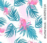 modern flowers and palm leaves... | Shutterstock .eps vector #614093114
