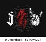 rock hand sign of horns gothic... | Shutterstock .eps vector #614094224