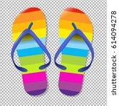 flip flops with gradient mesh ... | Shutterstock .eps vector #614094278