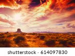 amazing landscape at the sunset ... | Shutterstock . vector #614097830