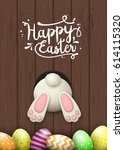 easter motive  white bunny...   Shutterstock .eps vector #614115320