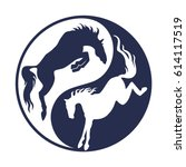 rearing up horse monochrome... | Shutterstock .eps vector #614117519