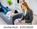 young man on reception at...   Shutterstock . vector #614118260