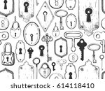 seamless pattern. vector set of ... | Shutterstock .eps vector #614118410