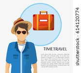 time travel man tourist... | Shutterstock .eps vector #614120774
