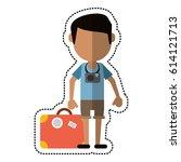 cartoon traveler man camera... | Shutterstock .eps vector #614121713