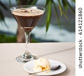 Small photo of Espresso Martini Cocktail in a Martini Glass with ice cream
