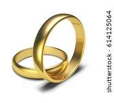 golden rings isolated on white...   Shutterstock .eps vector #614125064