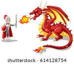 cartoon knight with fierce... | Shutterstock .eps vector #614128754