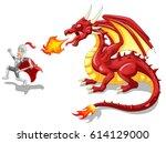 cartoon knight with fierce... | Shutterstock .eps vector #614129000