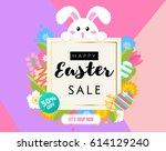 happy easter sale banner ... | Shutterstock .eps vector #614129240