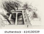 a sepia view looking upwards... | Shutterstock . vector #614130539