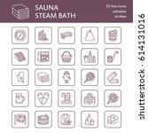 sauna  steam bath line icons.... | Shutterstock .eps vector #614131016