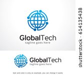 global tech logo template   | Shutterstock .eps vector #614135438