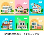 houses  mansions and villa... | Shutterstock .eps vector #614139449