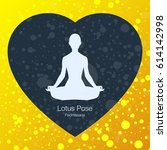illustration with lotus yoga... | Shutterstock .eps vector #614142998