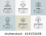 set of vintage alcohol label... | Shutterstock .eps vector #614152658