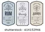 Stock vector set of vintage bottle label design with ethnic elements in thin line style alcohol industry emblem 614152946