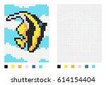 pixel  oorish idol fish cartoon ... | Shutterstock .eps vector #614154404