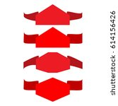 banner red set. emblem modern... | Shutterstock .eps vector #614156426