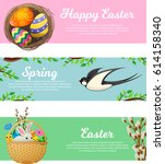 spring and happy easter web... | Shutterstock .eps vector #614158340