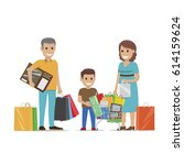 family making holiday purchases.... | Shutterstock .eps vector #614159624
