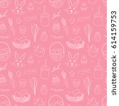 cute pink pattern for easter.... | Shutterstock .eps vector #614159753