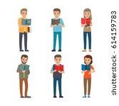 six different people enjoy... | Shutterstock .eps vector #614159783