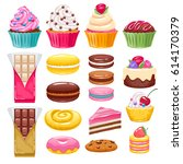 set of bakery sweets on white... | Shutterstock .eps vector #614170379