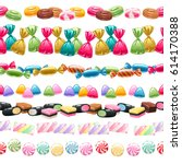 Set Of Seamless Sweets Borders...