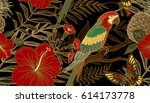 exotic plants and birds parrots.... | Shutterstock .eps vector #614173778