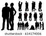 collection of couple... | Shutterstock .eps vector #614174006